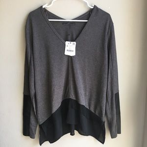 NWT Zara V-Neck Gray Oversized Top Size Small